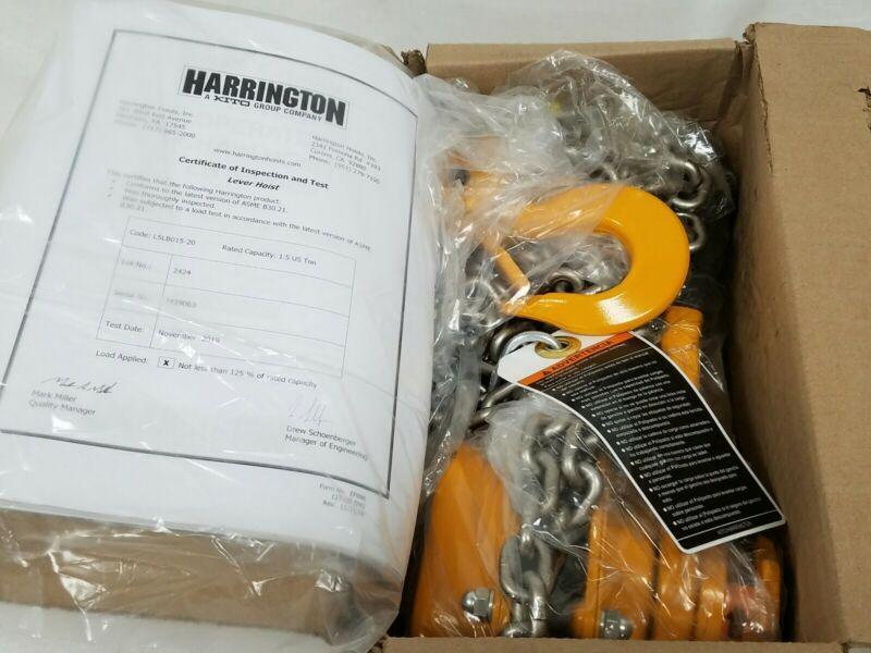 Harrington 1.5 Ton Ratchet Lever Chain Hoist 20