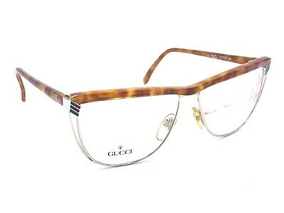 Gucci GG2300 06L Brown Gold Tortoise Eyeglasses Frames Vintage 58-13 NEW Italy