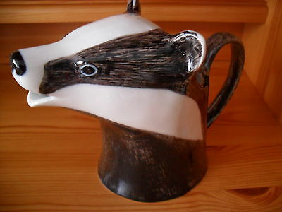 Delightful  Badger JUG By Quail Pottery Boxed Great Gift