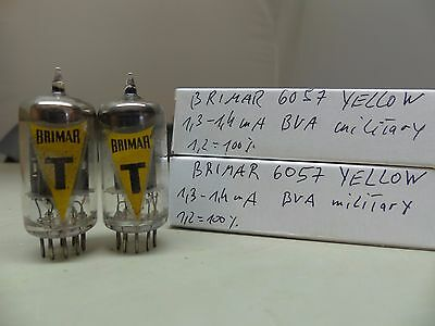 Matched Pair 6057 CV4004 E83CC ECC83 Brimar-YELLOW Tube Valvola Ultra Rare