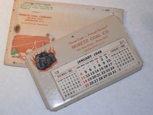 VINTAGE 1948 COAL COMPANY TIN DESKTOP CALENDAR! WITH LUMP OF COAL! IN ELVELOPE!
