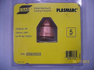 5 Pk Esab Plasmarc Plasma Cutter Consumable Xr Nozzles Pt-36 Torch 0558006028