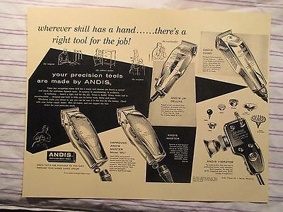"Vintage Barbershop Andis Clippers All Varieties Sign Ad ""Right Tool Right Job"""