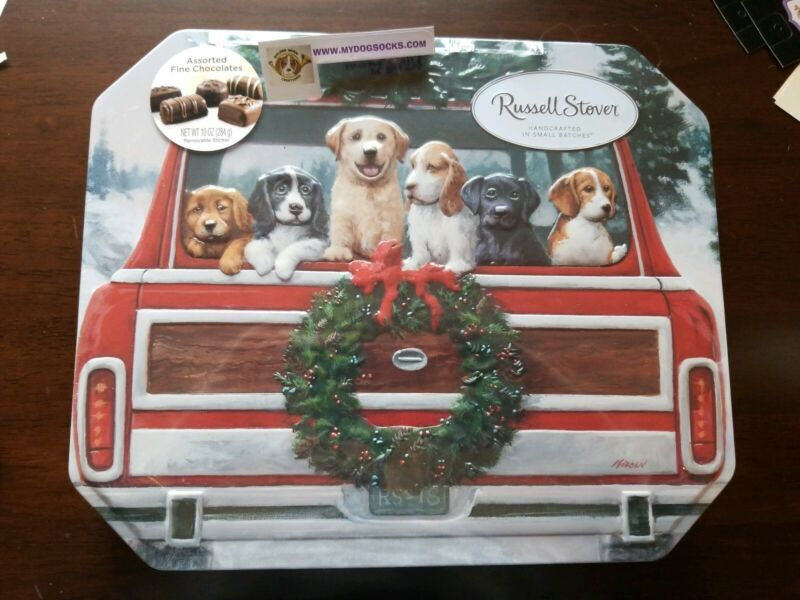 Russell Stover Christmas Beagle Golden Labrador Retriever Springer Dog Tin empty