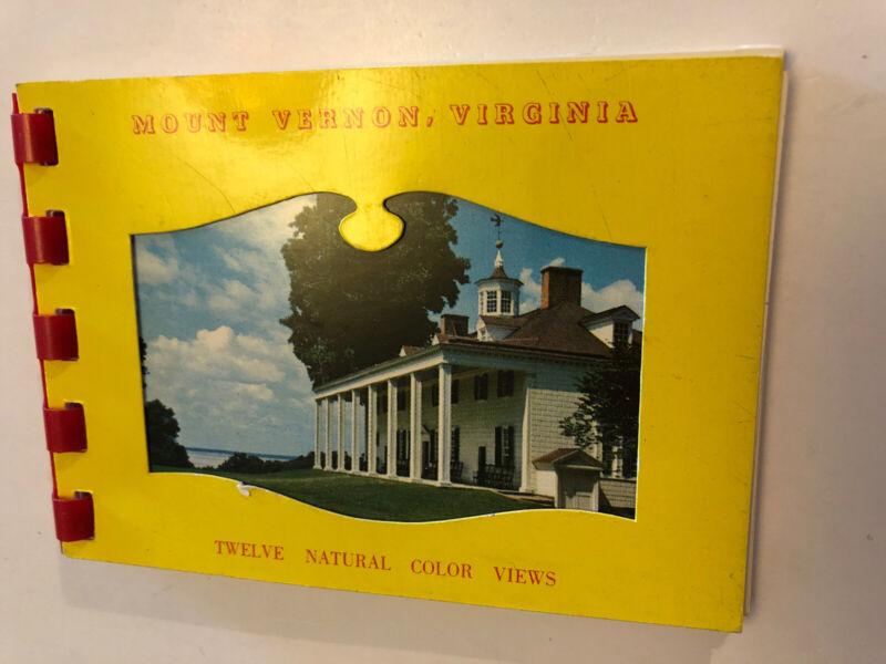 Vintage Souvenir Travel Mini Photo Book Mount Vernon Virginia 12 Color Views