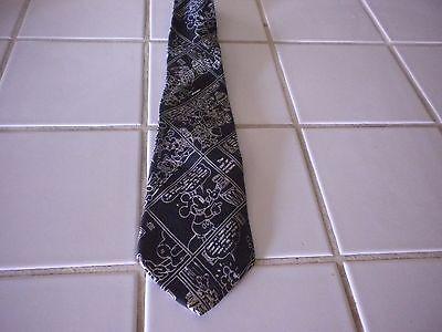 "Balancine Mickey Mouse Tie 100% Silk "" The Tie Works"" Black & White"