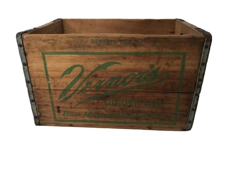 Vintage Vernors Ginger Ale Wooden Crate Vernor
