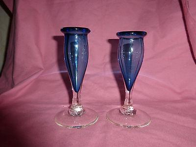 Pair of 1993 Handblown Glass Candlesticks Glenn Ziemke Signed Blue
