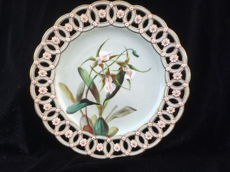 Antique 1883 Minton Porcelain Reticulated Plate Brassia Verrucosa Orchid