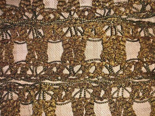 "Antique French Passementerie 19th Century Empire Gold Metallic Lace 92"" Unused"