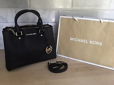 MICHAEL KORS MEDIUM ~SUTTON~ BLACK SOLD SAFFIANO LEATHER BAG TOTE CROSSBODY