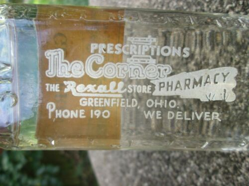 Vintage, Greenfield, Ohio, The Corner Rexall Pharmacy, Bottle of Glycerin