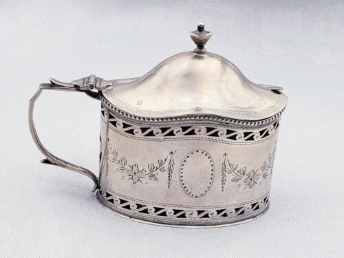 English Sterling Mustard Pot with Blue Cobalt Liner, Urns, and Bright Cut 10201