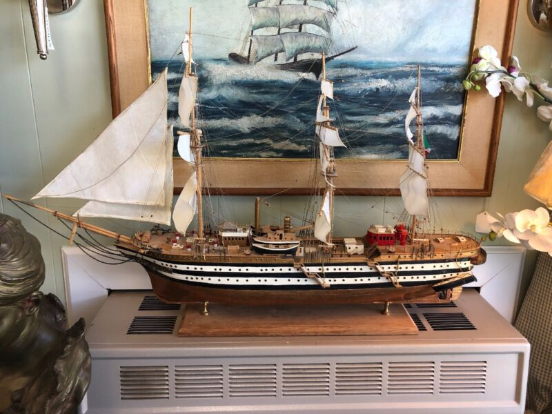 Large Very Old Wooden Ship With Multiple Sails