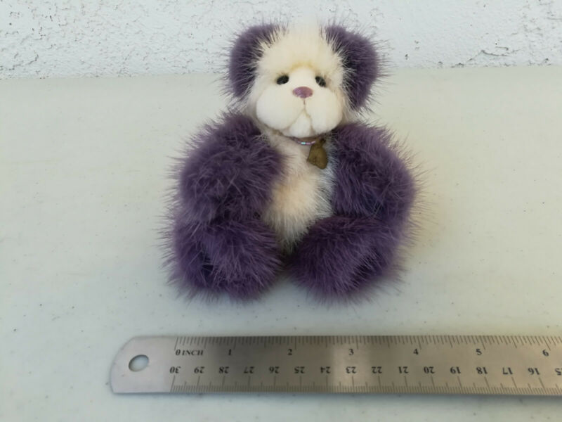 Kathy Meyers Purple & White Bear Handcrafted Bear with Mohair With Necklace