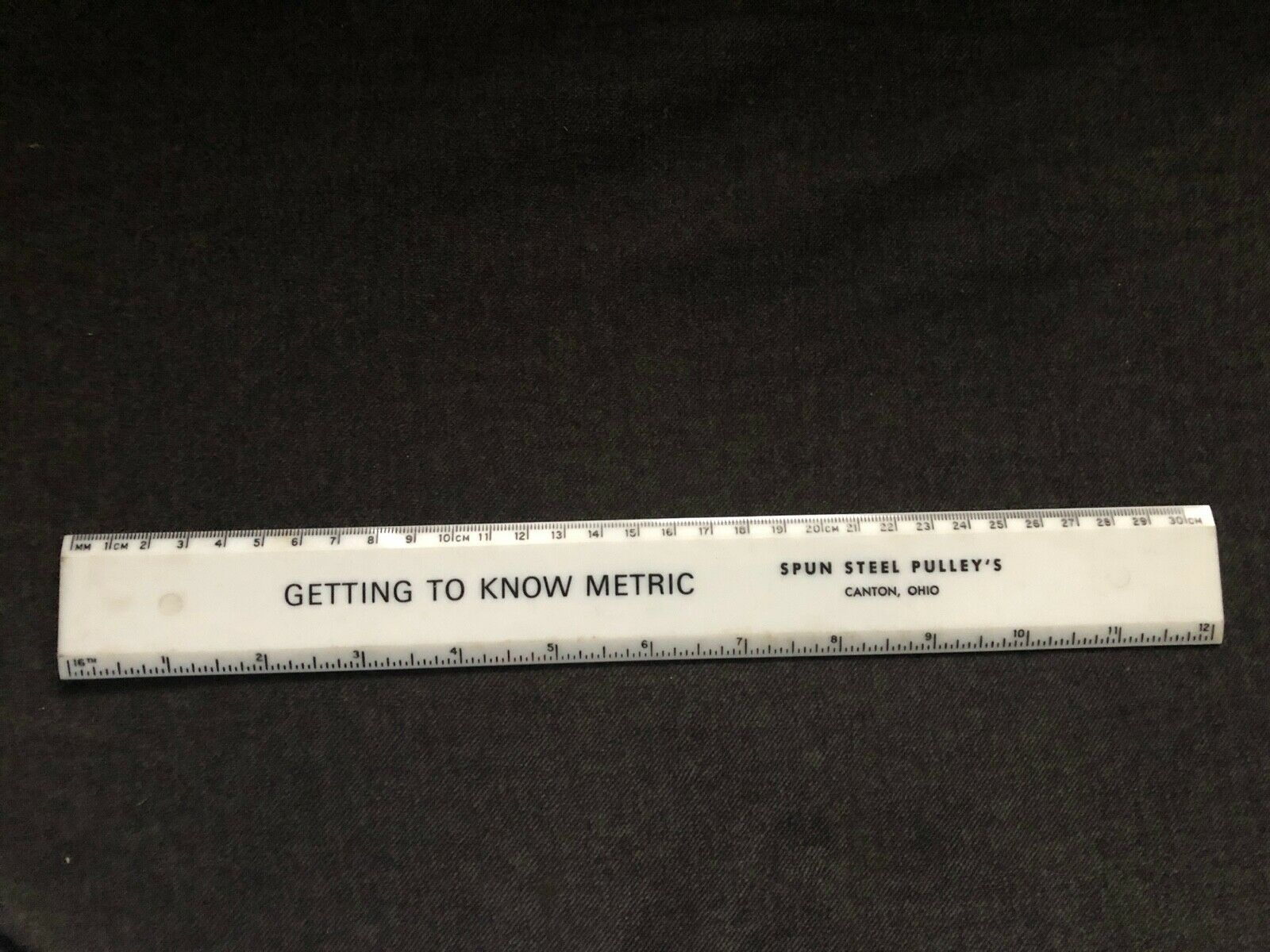Vintage SPUN STEEL PULLEY'S Plastic Ruler Canton Ohio GETTING TO KNOW METRIC