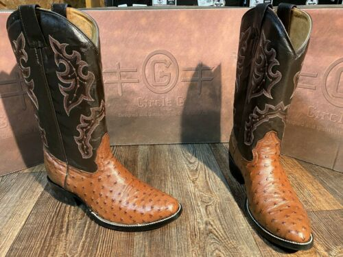 Mens, Brown, Circle, G, by, Corral, Full, quill, ostrich, western, boots.