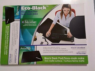 New Black Artistic Eco-black Microban 12x17 Desk Pad Surface