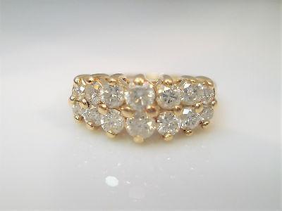 VINTAGE 14K YELLOW GOLD WHITE DIAMOND WEDDING BAND SIZE 6
