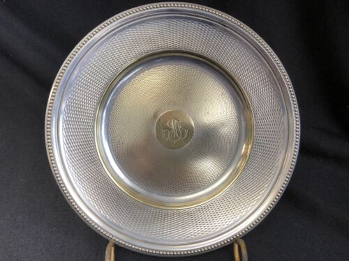 CHRISTOFLE SILVER PLATE BEADED EDGE CHAMPAGNE WINE COASTER PLATE 7""
