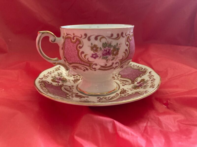 Vintage Rosina Teacup and Saucer #1409 Pink and White Floral Never Used