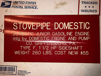 Stovepipe Domestic 1-12hp Sign Hit Miss Stationary Engine