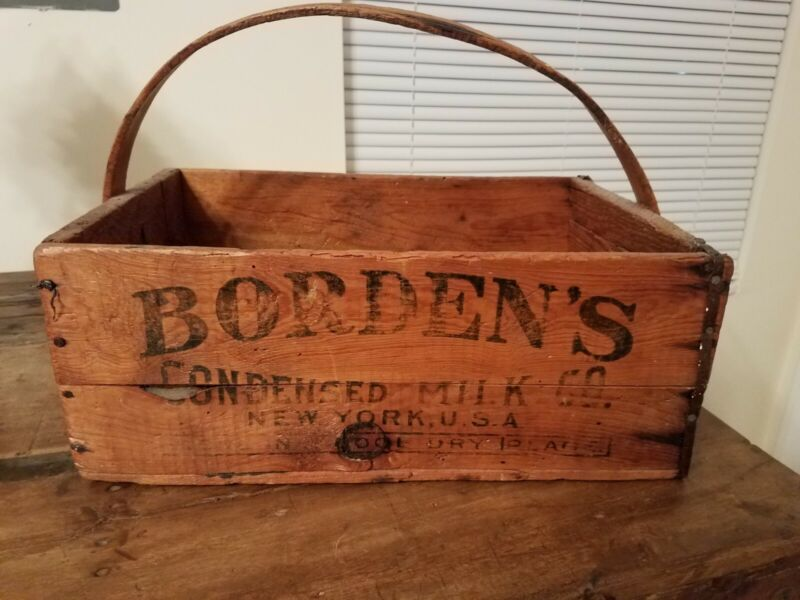 Primative Bordens Condensed Milk Crate/basket very rare.  Very old