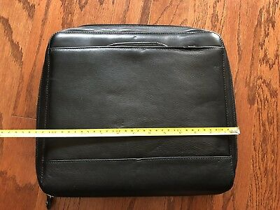 Franklin Covey Planner Black Zippered Briefcase Leather - Nice