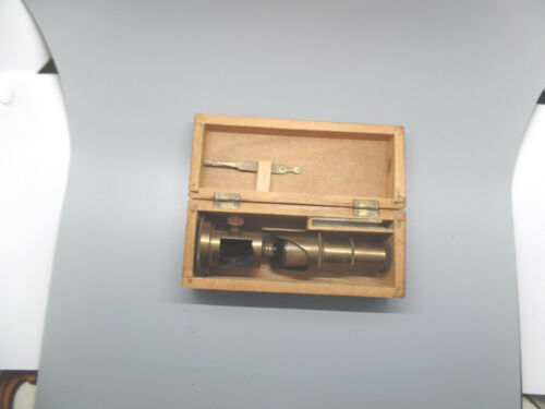 ANTIQUE BRASS FIELD MICROSCOPE,MADE IN FRANCE