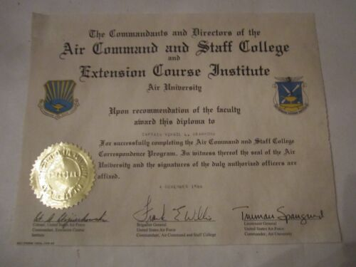 1986 AIR COMMAND AND STAFF COLLEGE AIR UNIVERSITY DIPLOMA CERTIFICATE - TUB FP