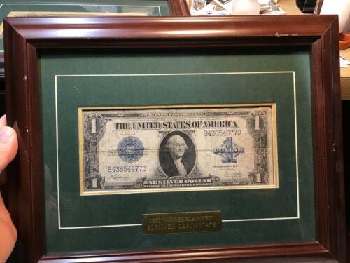 "1923 $1 ONE DOLLAR ""HORSE BLANKET"" SILVER CERTIFICATE LARGE SIZE NOTE FRAMED"