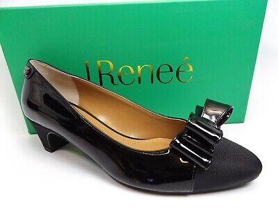 J. Renee Women Prattsi Black Patent Grosgrain Low Heels Pumps SZ 8.0 M NEW  *738 J Renee Low Heel Heels