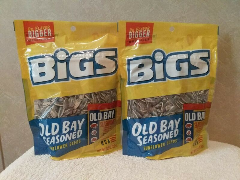 BIGS SUNFLOWER SEEDS (OLD BAY SEASONED) 5.35 OZ.  RESEALABLE BAG LOT OF 2