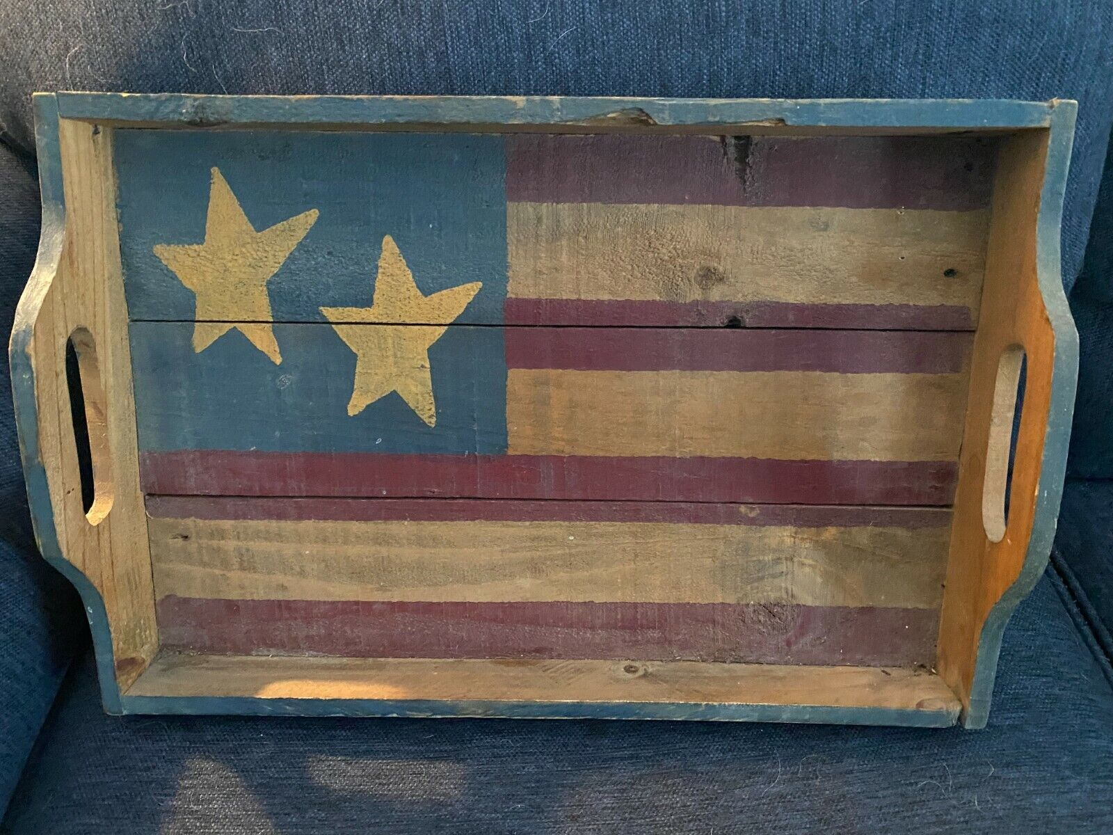 American Flag Wood Tray Distressed Finish - $10.00