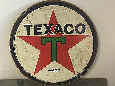 "TEXACO GASOLINE GAS AND OIL TEXAS COMPANY 12"" ROUND METAL WALL SIGN"