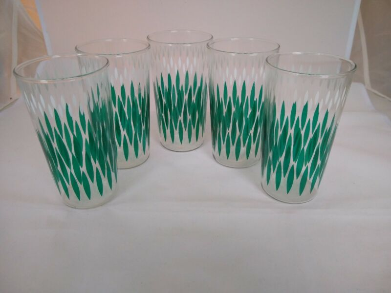 Mid Century Modern Green, White, Clear Glasses Set of 5 Vertical Pattern Vintage