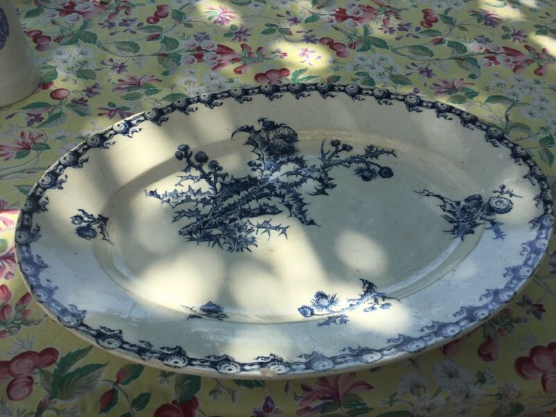 "Antique French 15"" Thistle Platter Transfer Blue Gien Chargons  1800s Ceramic"