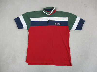 VINTAGE Tommy Hilfiger Polo Shirt Adult Large Red Green Sailing Gear Rugby Men *