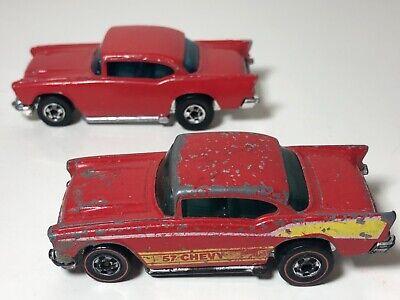 Vintage Hot Wheels Pair Of 57 Chevy Restorers Redline & Repainted Black Wall