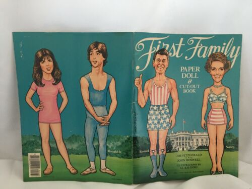 First Family Paper Dolls President Ronal Reagan multiple outfits and oval office