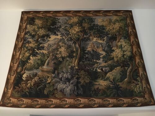 Antique French Wool 20th Century Aubusson Tapestry, 5 X 6 Feet