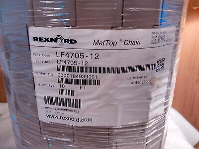 10 Long Rexnord Lf4705-12 Mattop Straight Conveyor Chain 12 W X 1-12 Pitch