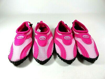 2 Pair Water Shoes Aqua Socks Womens Sz 8 Easy USA Pink/Pink w Pink/Pink Wave