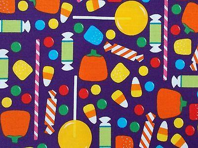 Halloween Candy Fabric on Purple 100% Cotton Robert Kaufman Cotton FQ BTHY BTY - Candy On Halloween