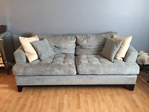PENDING- Blue / Grey Microfiber Couches - Used $100