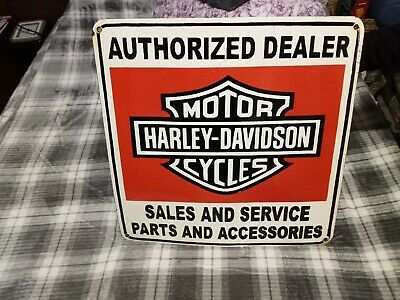 Vintage Antique Harley Davidson Sales And Service Porcelain Sign 1940's (24in)