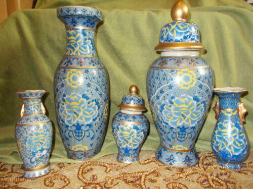 5 Pieces Blue & Gold Chinese Cloisonne Vases & Ginger Jar - B606-2