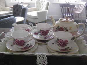 VINTAGE pink-red ROSE teaset tea for three set Sadler TEAPOT/milk jug/sugar bowl