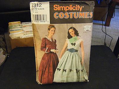 Simplicity 7312 Misses Antebellum Dresses Costume Pattern - Size 10 & 12
