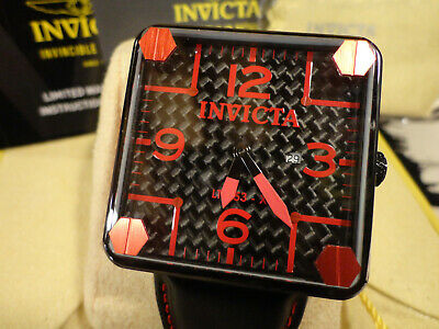 Invicta 31936 45mm Speedway Red/Bl Cuadro Swiss Quartz Leather Strap Watch NEW!